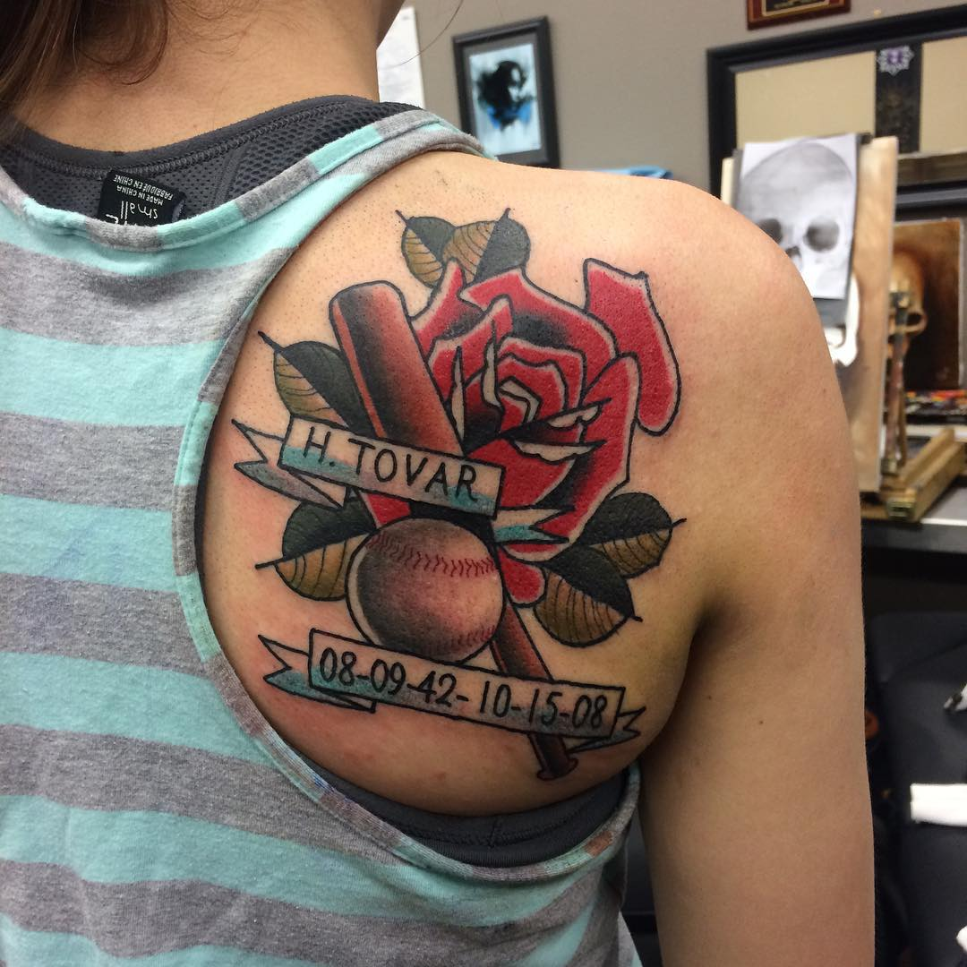 Flower-Bat-Baseball Tattoo