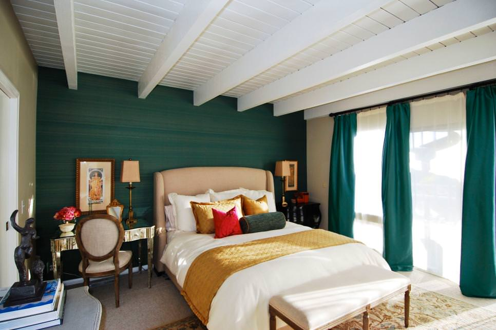 23 green wall designs decor ideas design trends for Aquamarine bedroom ideas
