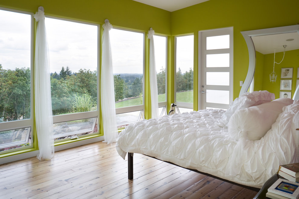 Scenic Lime Green Bedroom Walls