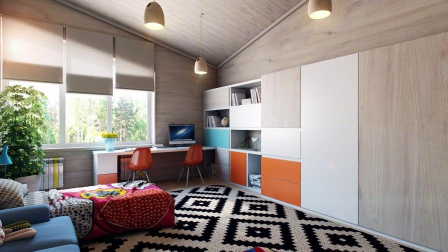 wooden panel kids storage area