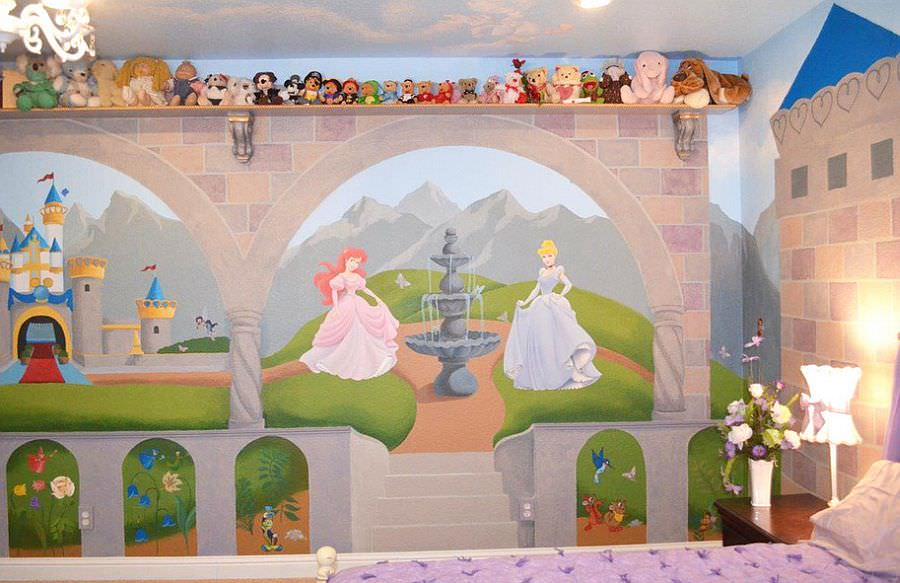 24 disney themed bedroom designs decorating ideas for Castle mural kids room