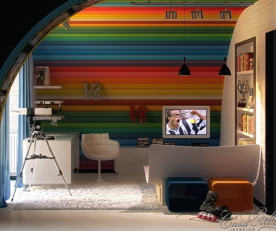 Multi Color Striped Kids Room