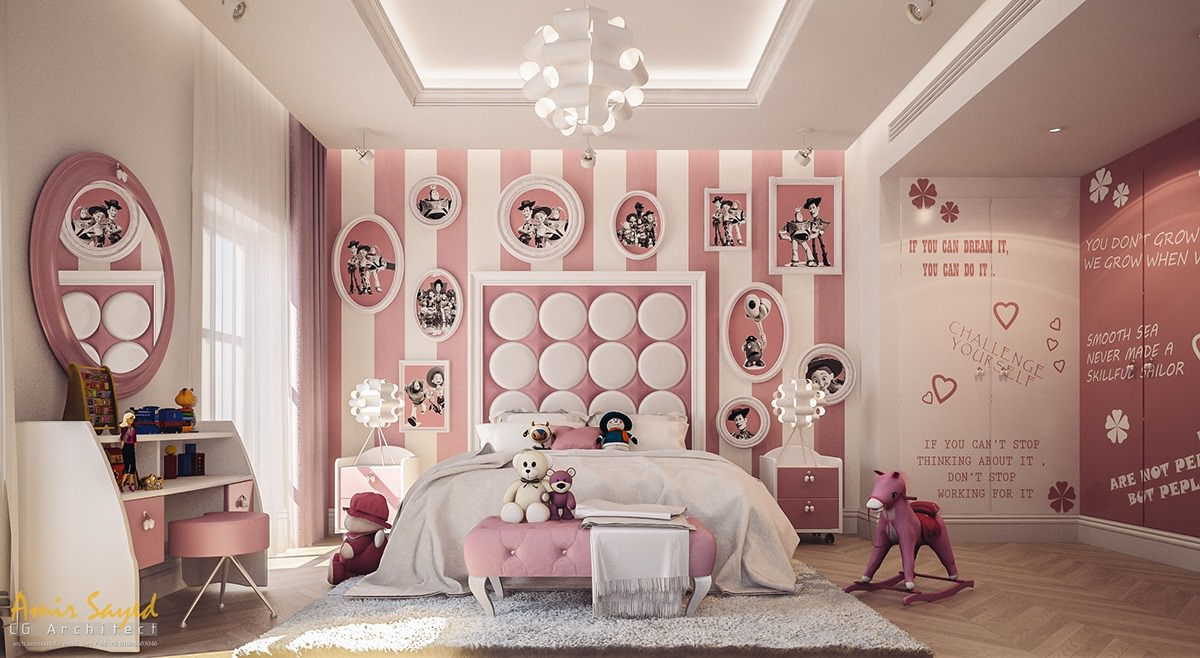 Pink and White Striped Kids Room