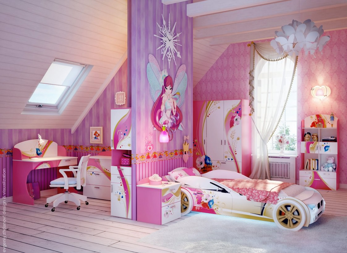 Pretty Girls Room Striped Walls