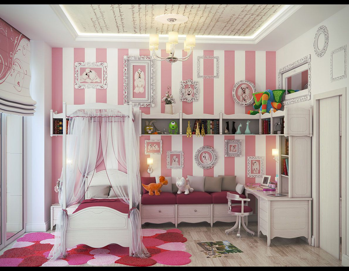 White And Pink Striped Kids Room