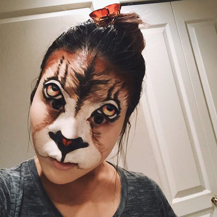 scary lion girl makeup