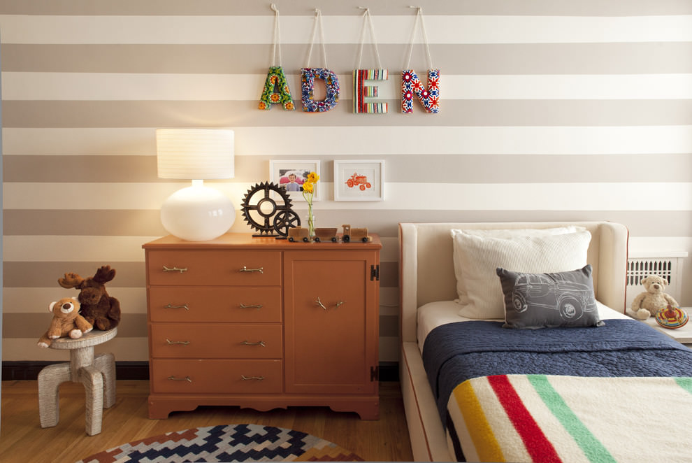 Gray and White Striped Wall