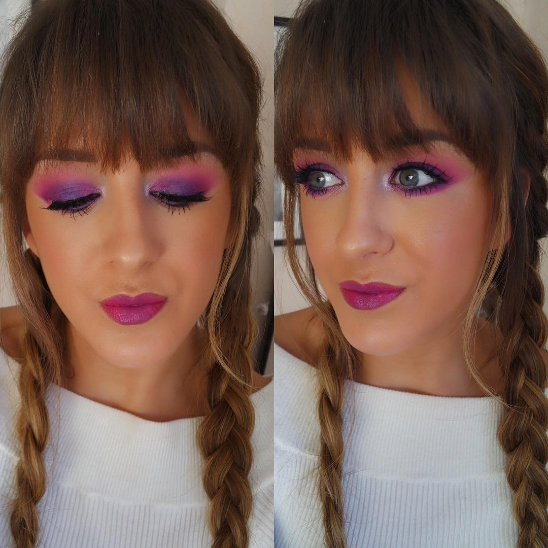 Pink Eye Makeup with Trendy Hair