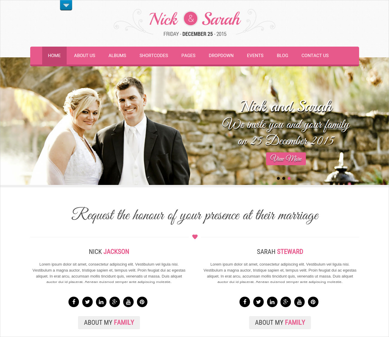 beautiful theme for wedding webstes