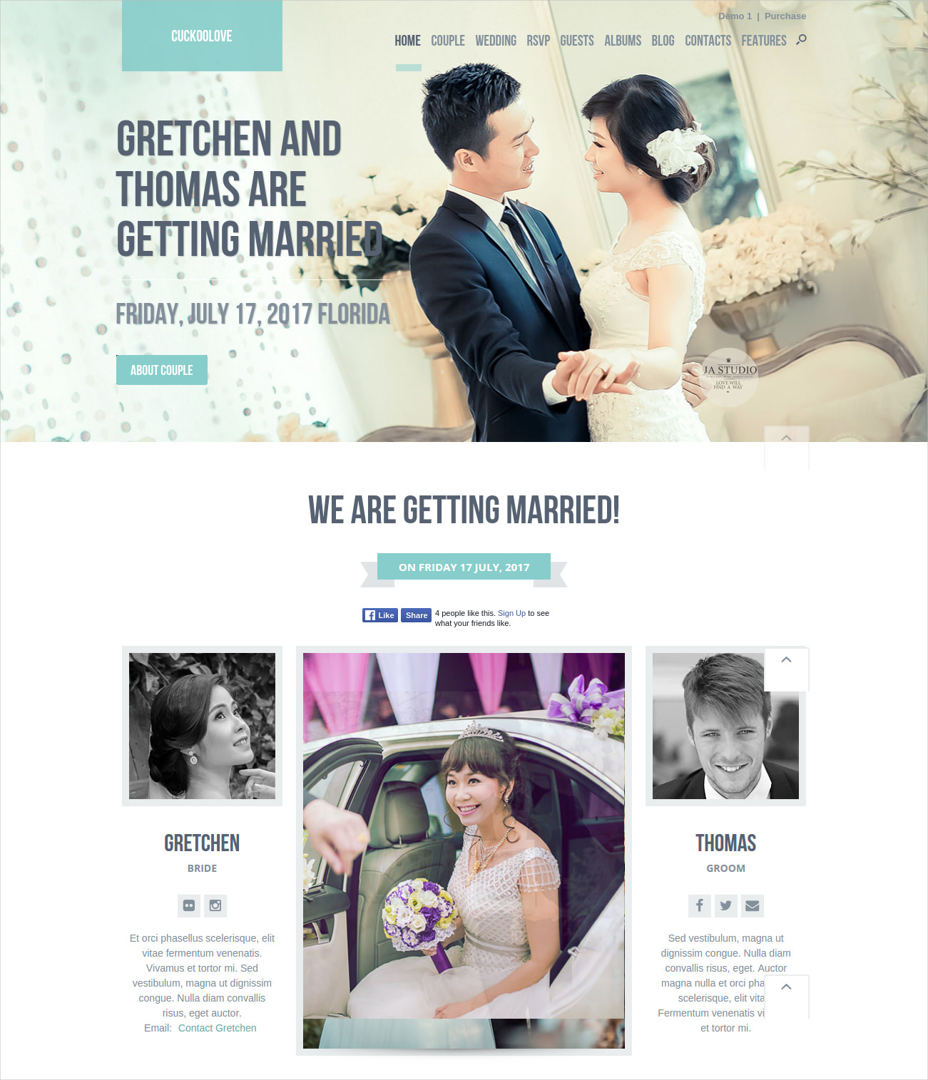Beautiful WordPress Themes for Wedding Website