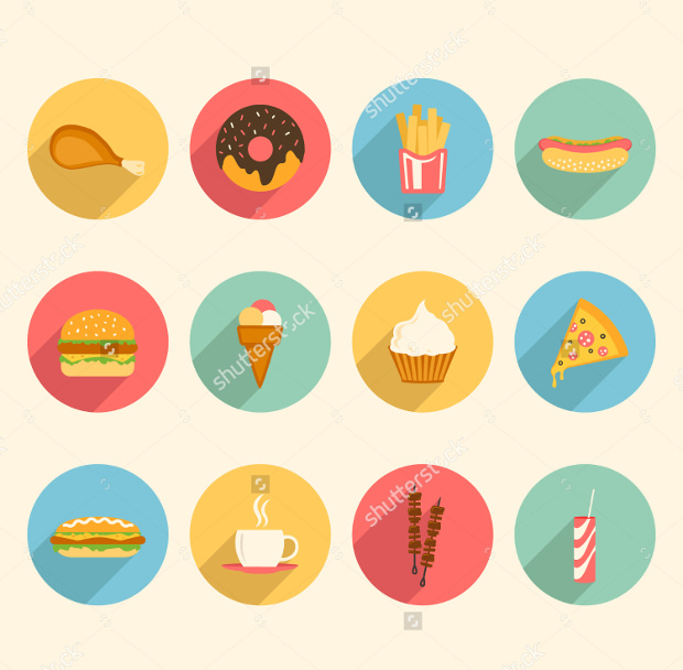 Colorful Food Flat Design Icons