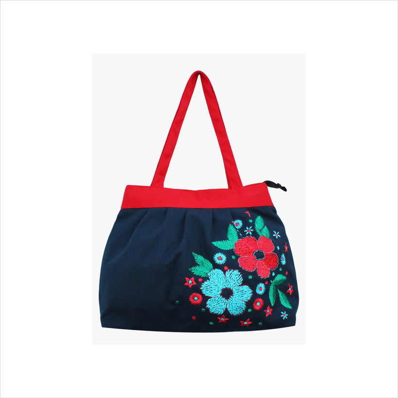 Moac Blue-Red Canvas Handbag