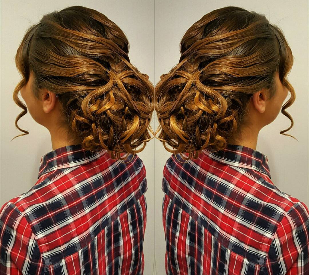 Brown Colored Hair Updo