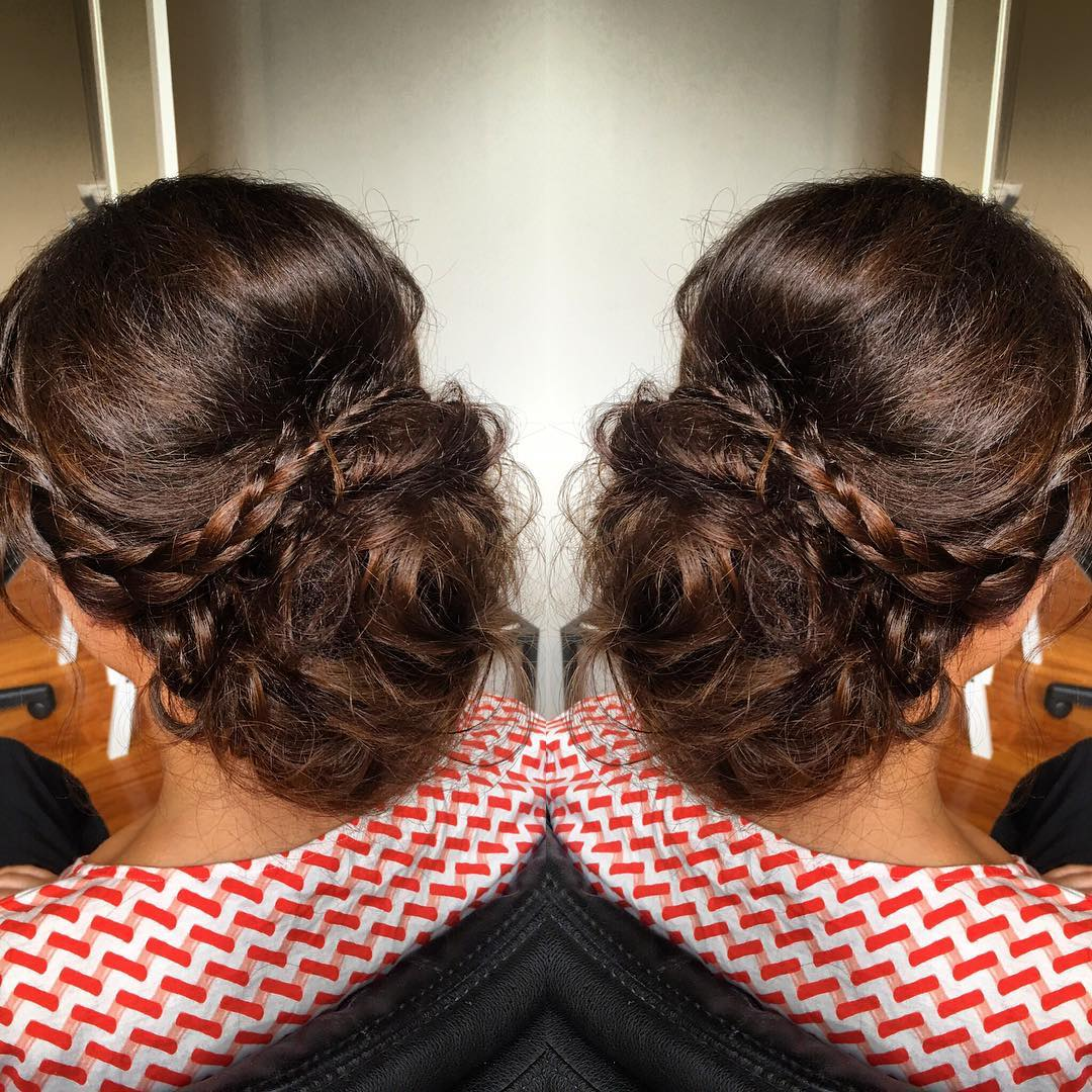 brown braided updo hair