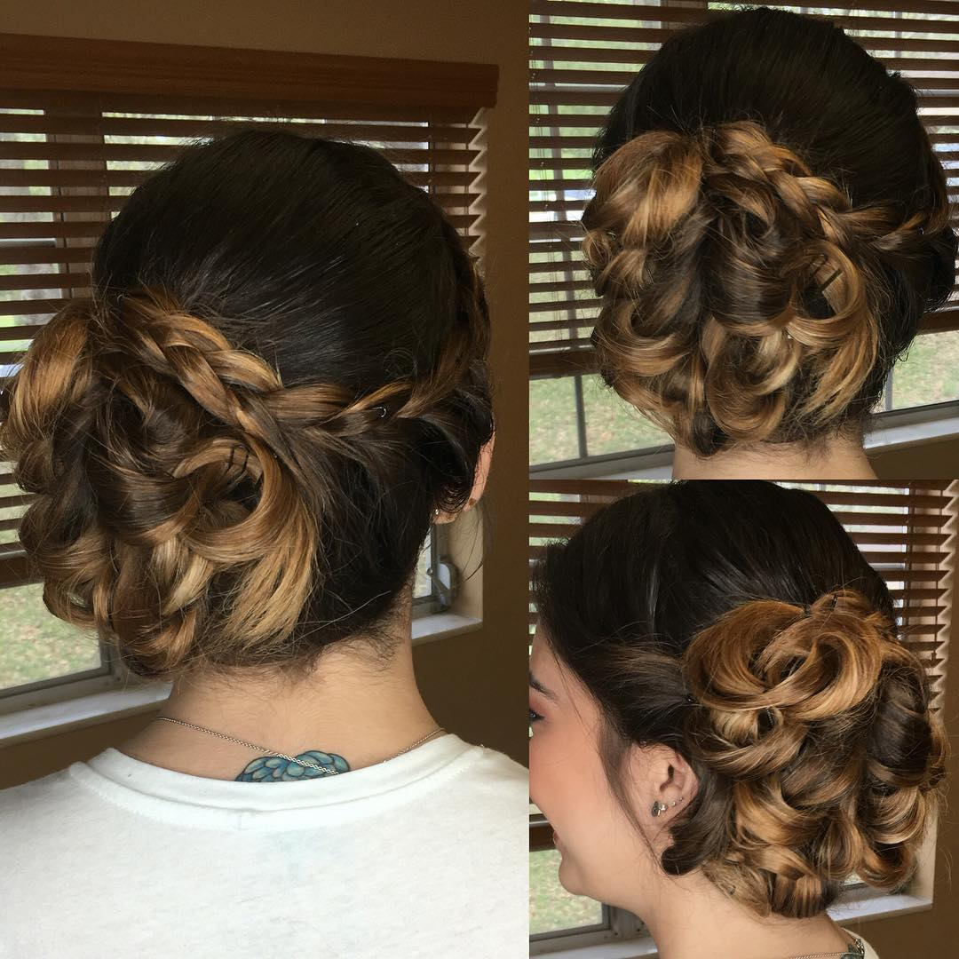 Side Braided Updo Hair