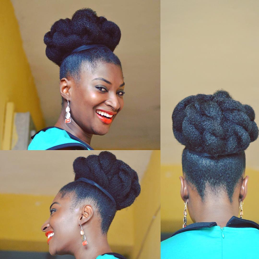 curly hair updo for black women1