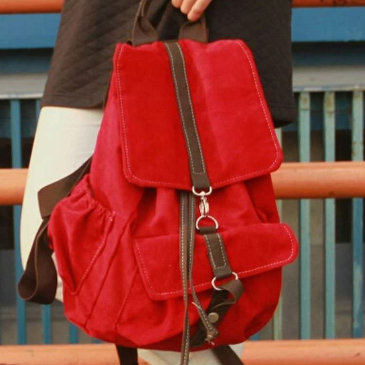 Red Backpack Handbag Design