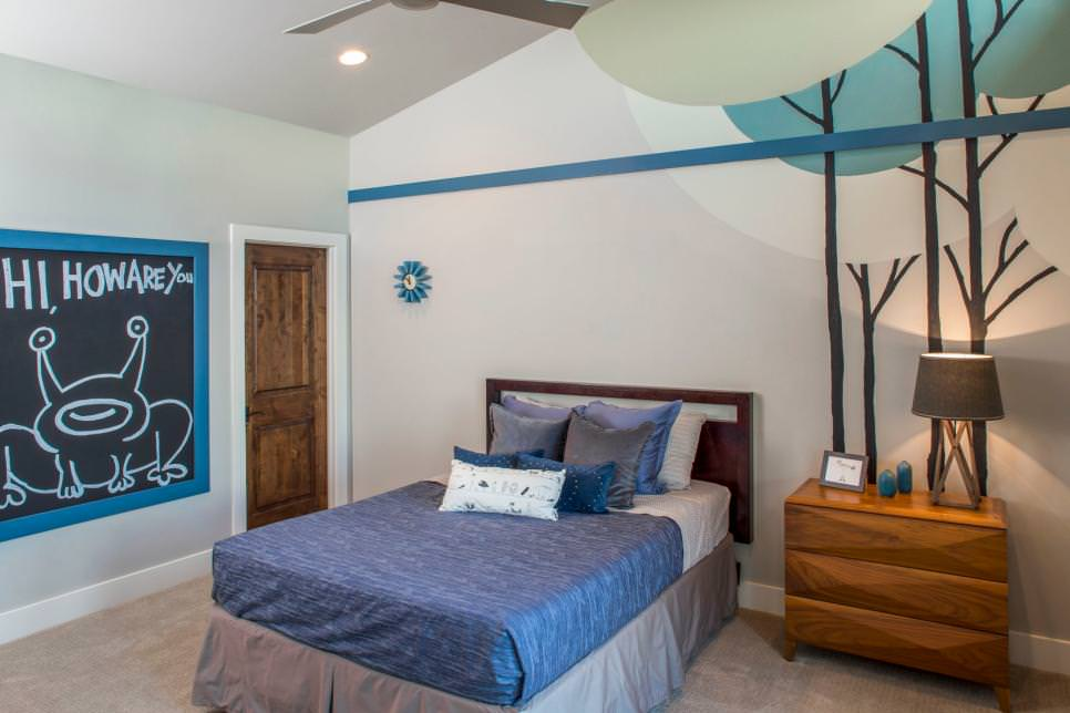 blue teen boys bedroom design