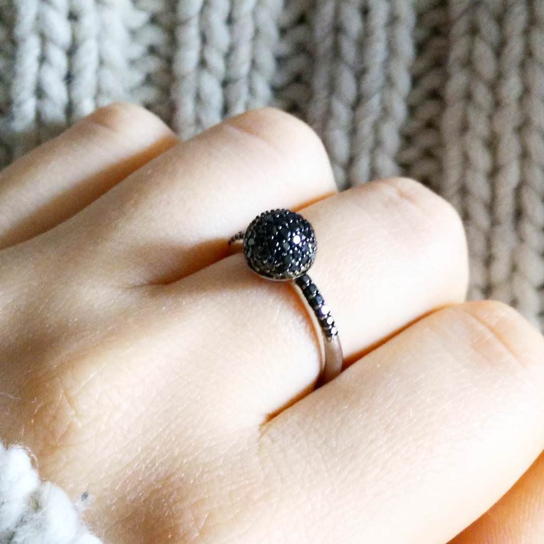 Ball shaped Black Diamond Ring