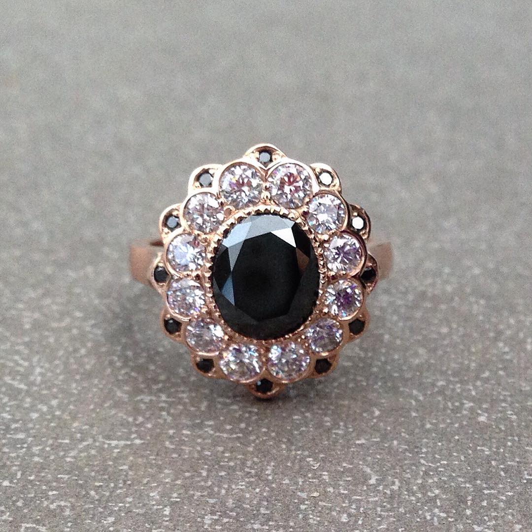 Floral Black Diamond Ring