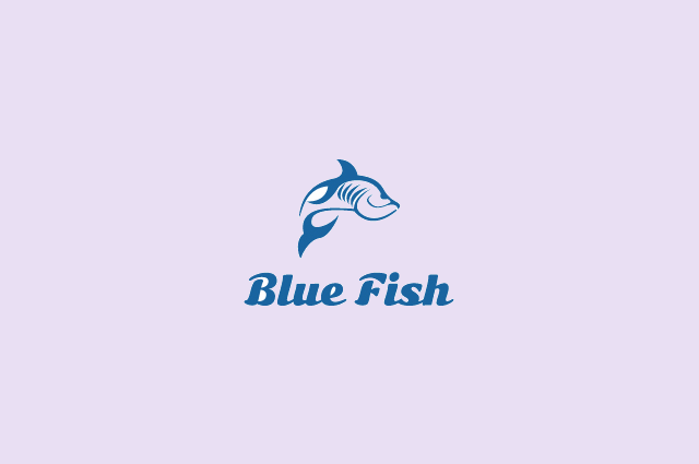 blue fish logo design