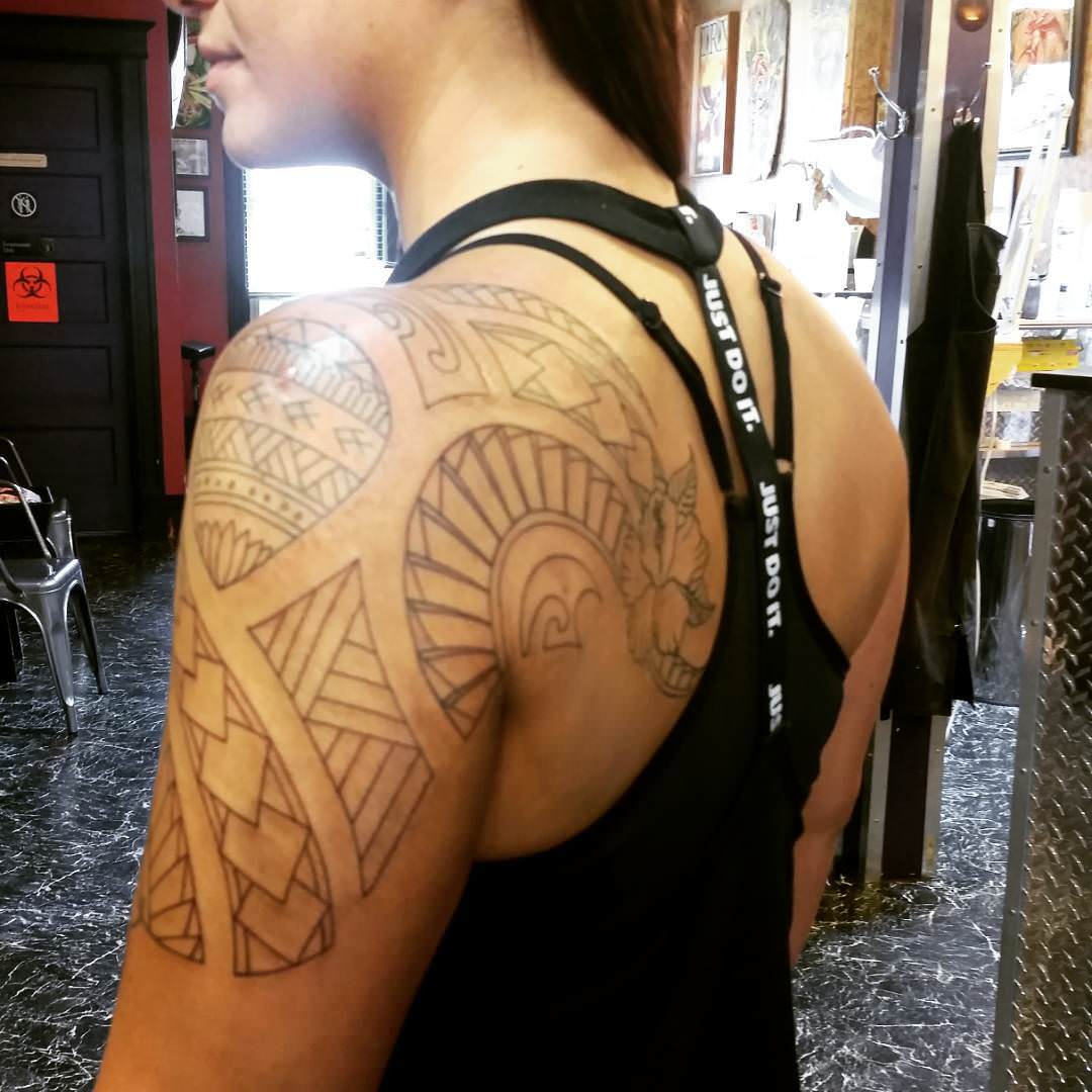 Lines Sleeve Tattoo Design for Women