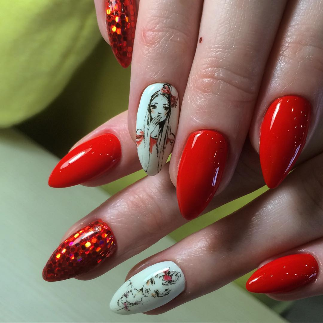Shining And Gel Red Nail Art