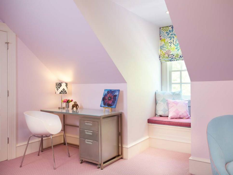 pink kids study room