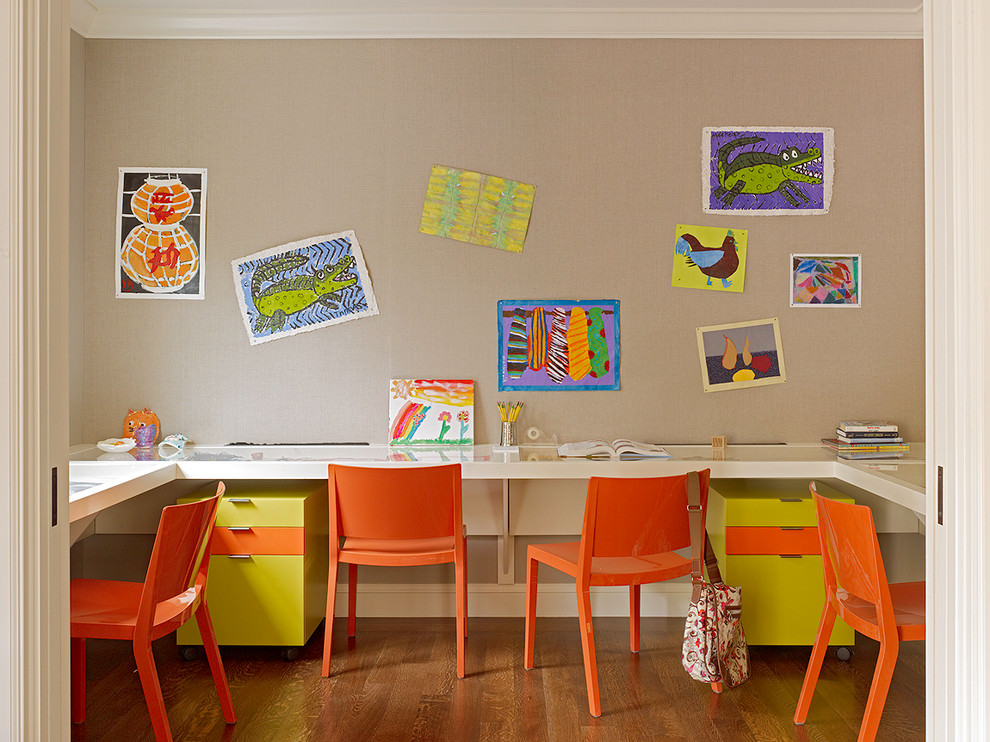 25 kids study room designs decorating ideas design for Study room wall cabinets