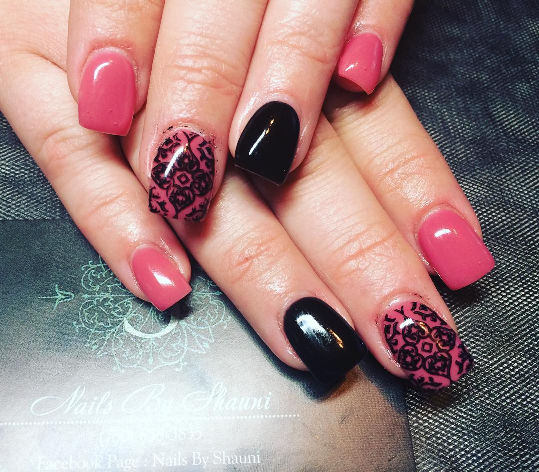 27 Pink And Black Nail Art Designs Ideas Design Trends Premium