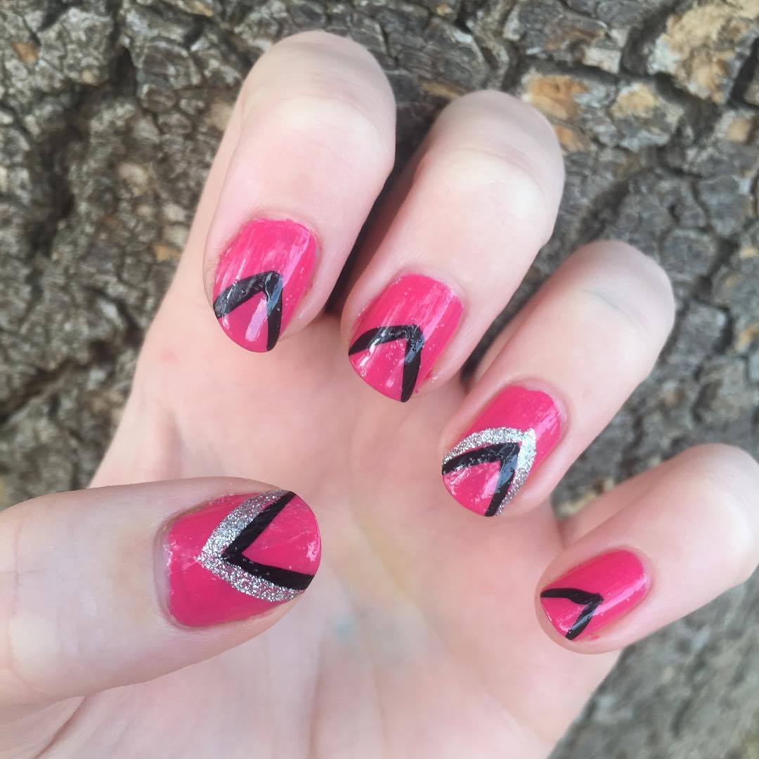 27+ Pink And Black Nail Art Designs, Ideas