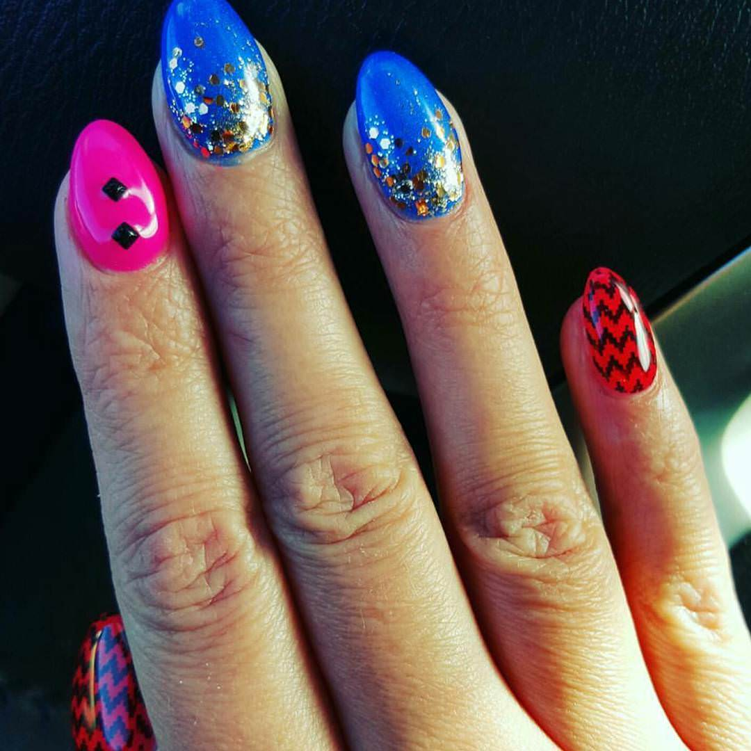 Three Colors Funky Nail Design