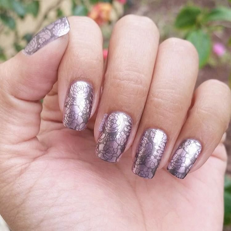 silver funky nail design