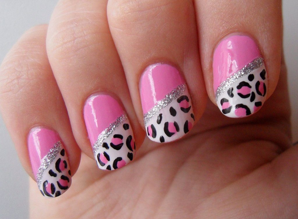 Pink and Black Leopard Nails