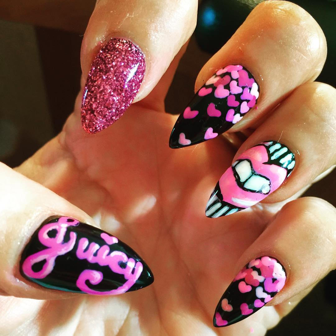 27 pink and black nail art designs ideas design trends funky nail art designs prinsesfo Images