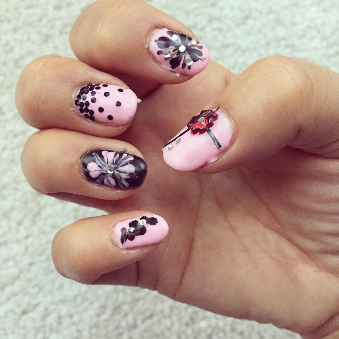 Pink and Black Simple Nails