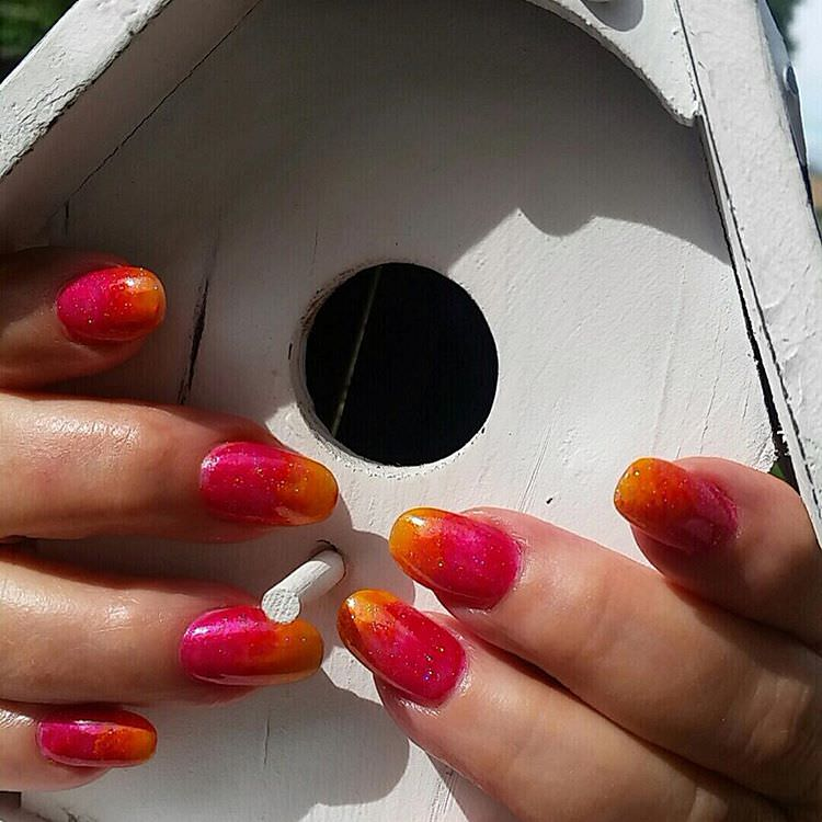 Pink & Yellow Funky Nails