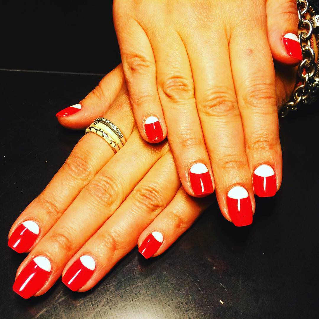 Red and White Trendy-Funky Nail Design