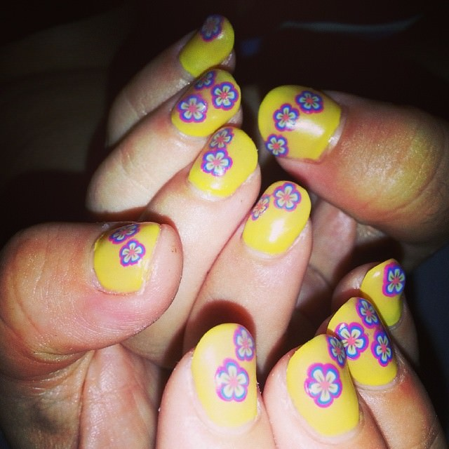 Yellow & Blue Flower Funky Nail Design