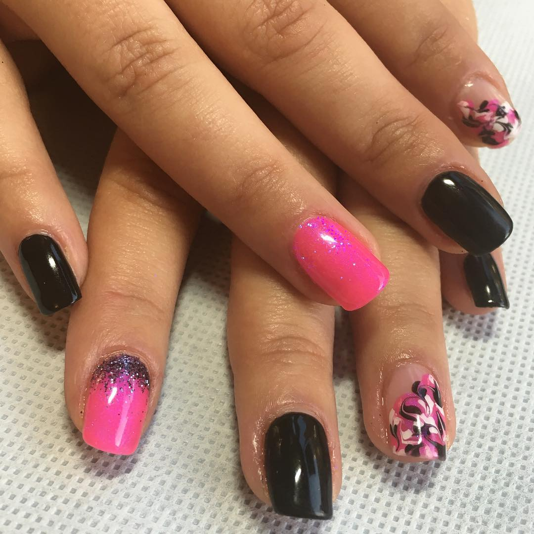 Pink & Black Funny Nail Designs