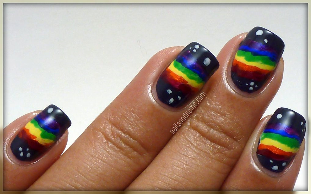 rainbow designed nails