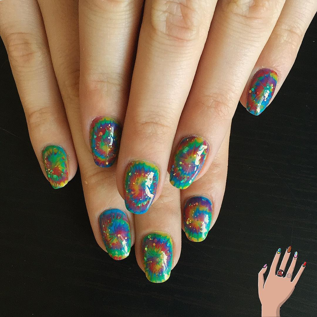 hippie rainbow nails