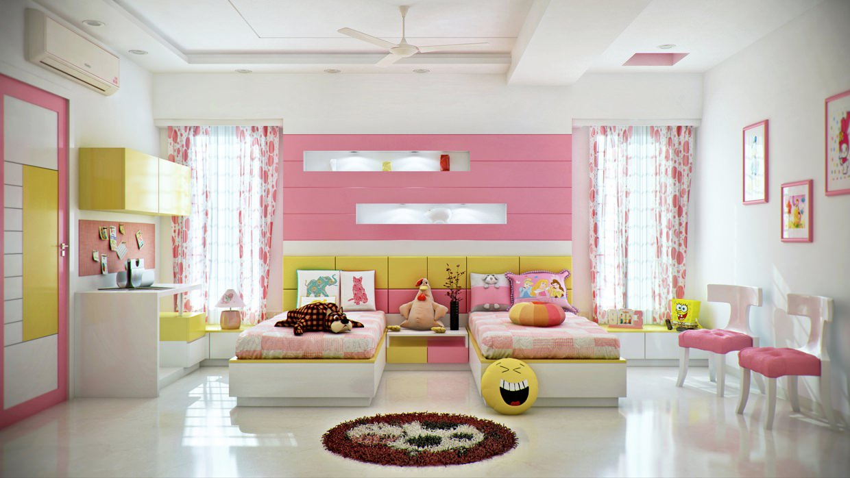 Pinka Bedroom Design For Girls