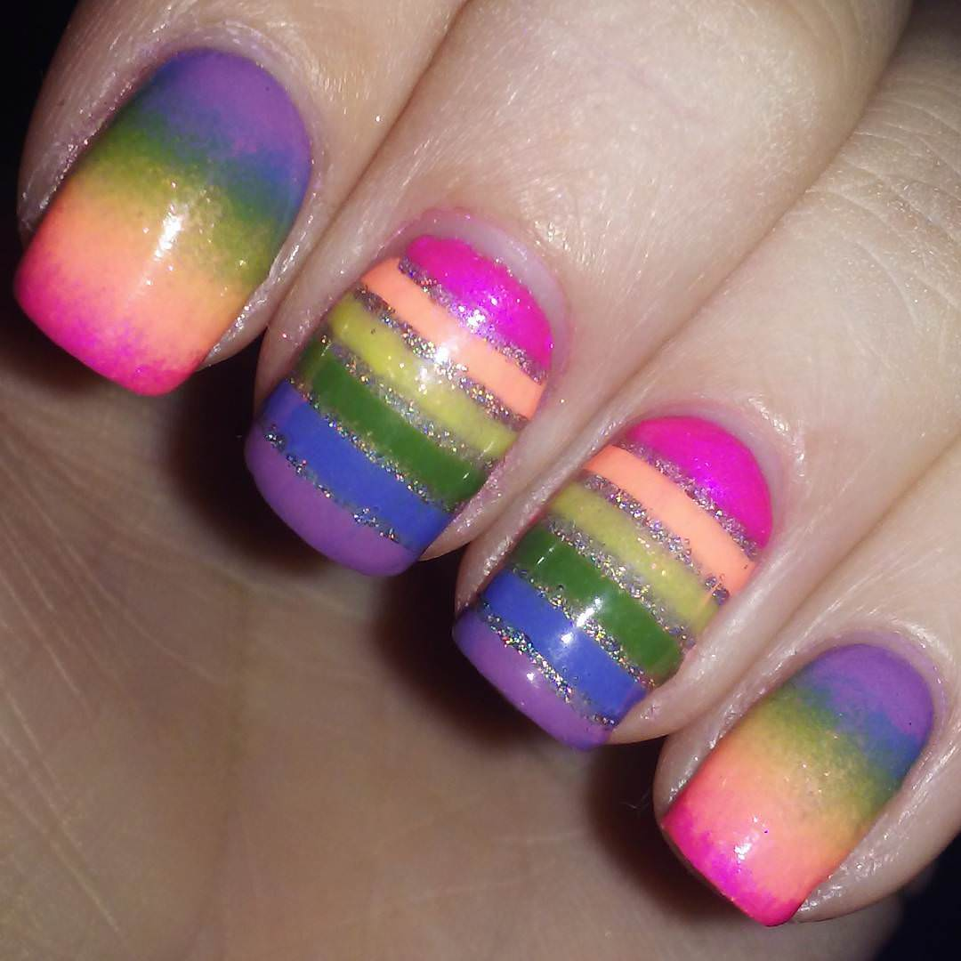 Rainbow Lines Nail Art