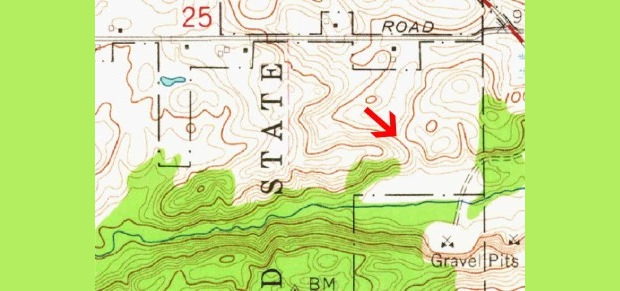 map pattern of hill ridge