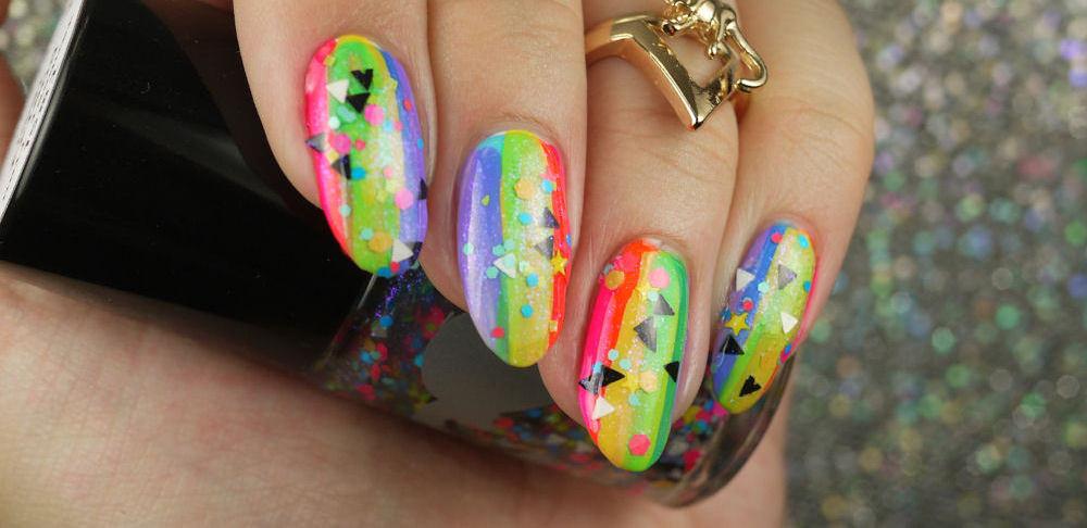 Classy Rainbow Nail Design