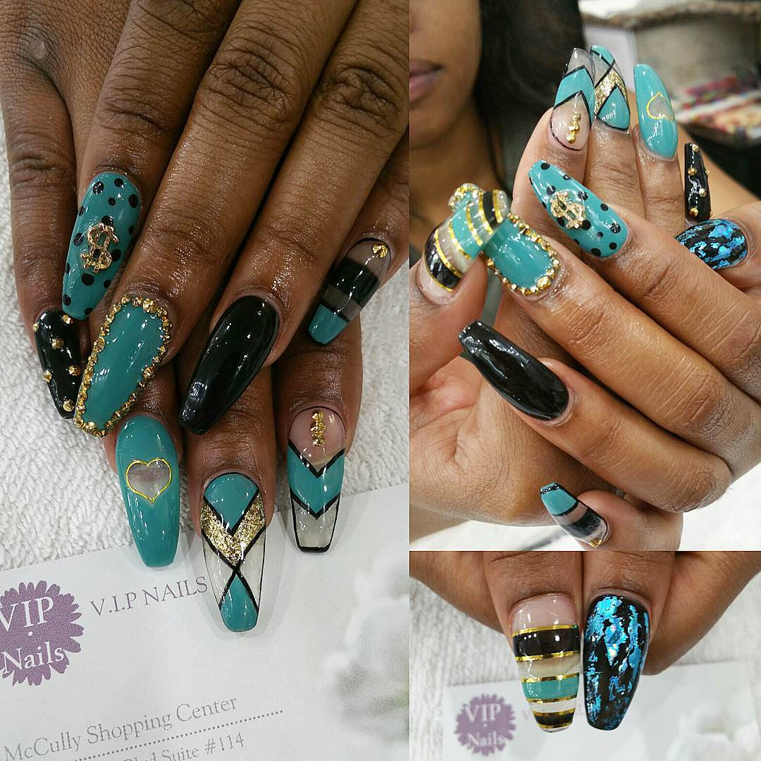 Black and Blue Fancy Nails - 29+ Fancy Nail Designs, Art, Ideas Design Trends - Premium PSD