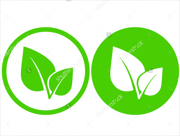 Green Leaf Icon for Vegan in Round Frame