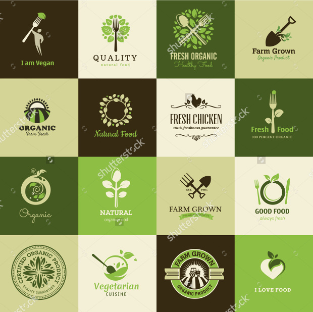 set of icons of organic food and restaurants