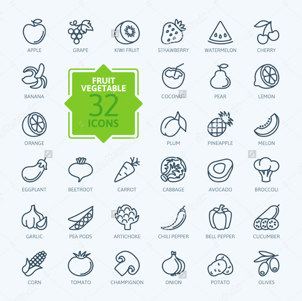 Outline Web Icon Set of Vegetarian